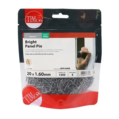 20 x 1.60mm Panel Pin Bright 500g Bag