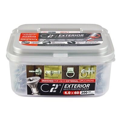 5.0mm x 60mm (Tub of 150 screws) Exterior Grade Classic C2 Premium Pozi Countersunk Wood Screws.