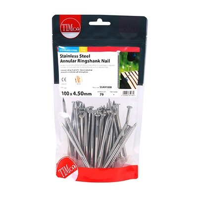 100 x 4.50mm Annular Ringshank Nails A2 Stainless Steel 1kg Bag