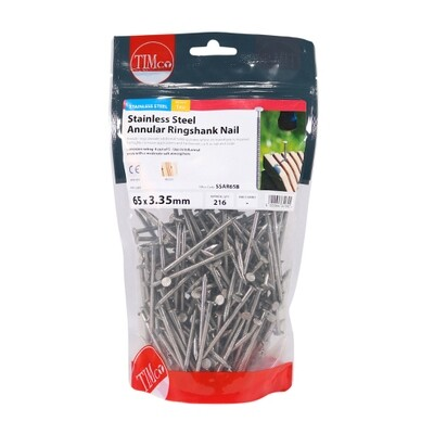 65 x 3.35mm Annular Ringshank Nails A2 Stainless Steel 1kg Bag