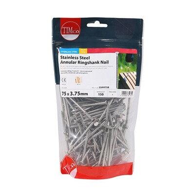 75 x 3.75mm Annular Ringshank Nails A2 Stainless Steel 1kg Bag