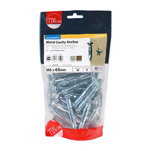 Metal Cavity Anchors - Zinc M6 x 65 (70mm Screw)  Box of 40