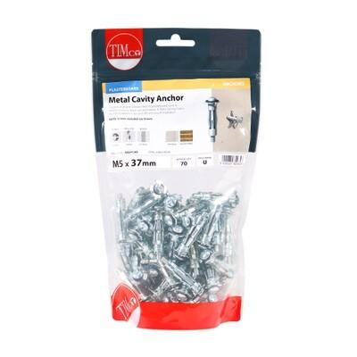 Metal Cavity Anchors - Zinc M5 x 37 (45mm Screw) Pack of 70
