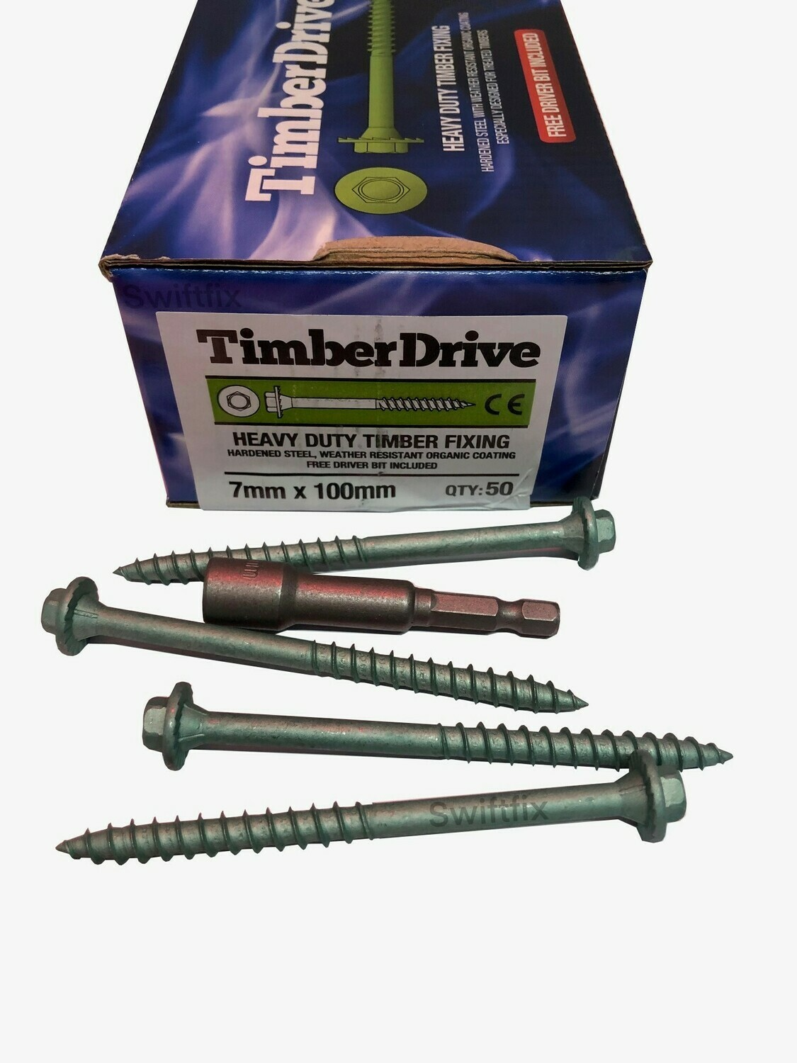 Timber Drive Screws 7.0mm x 100mm  Box of 50 Green External Coating Hex Head