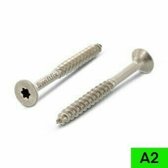 3.5 x 30mm Double Countersunk Torx TX10 (Star Drive) A2 Stainless Steel Wood Screws  18mm Part thread Boxed in 500s