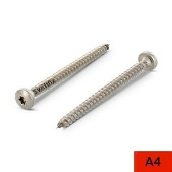 4.5 x 25mm Pan Head Torx Drive Wood Screws A4 St.St Box of 200
