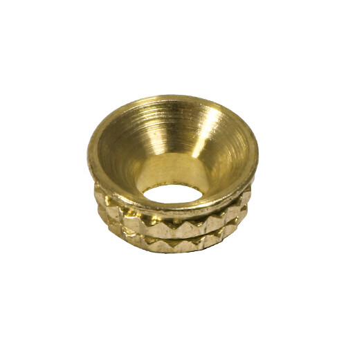 Knurled Inset Screw Cups - Solid Brass To fit 3.5 Screw   Pack of 8