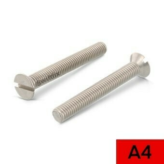 M6 x 20 Csk Slotted Din 963 A4 316 Marine Grade Stainless Steel