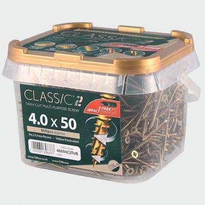 4.0mm x 40mm (Tub of 1200 screws) Classic C2 Premium Pozi Countersunk Wood Screws.