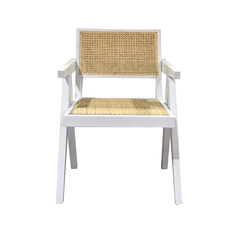 Rattan Arm Dining Chair White
