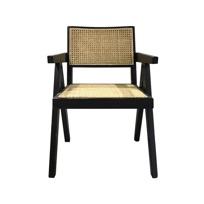 Rattan Arm Dining Chair Black