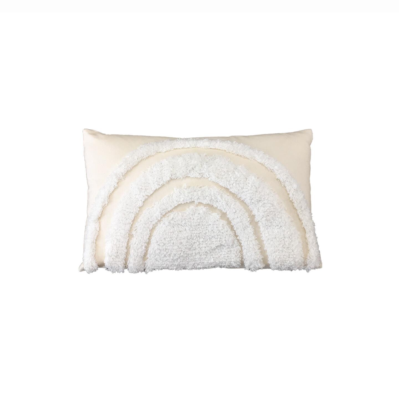 White on Natural Rainbow Cushion 30cm x 50cm