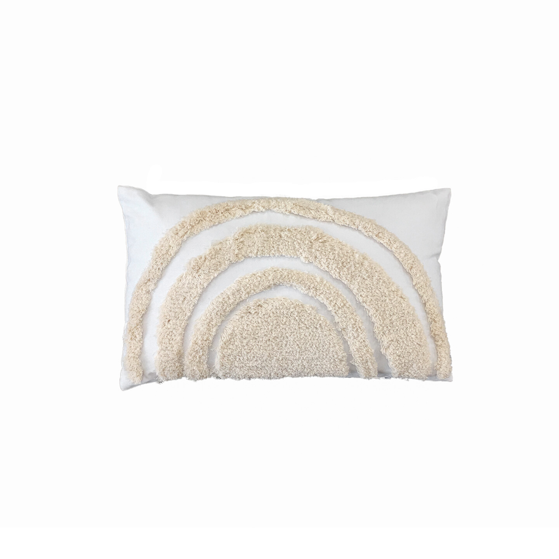 Natural on White Rainbow Cushion 30cm x 50cm