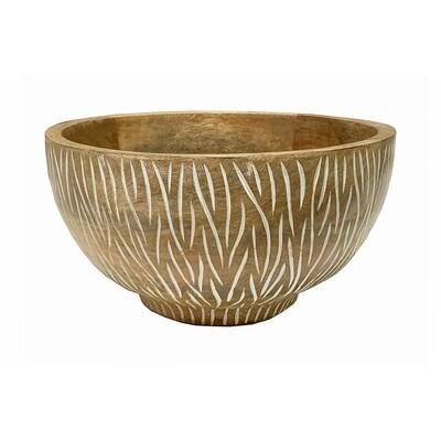 25cm Zebra Wood Carved Bowl - Distressed White