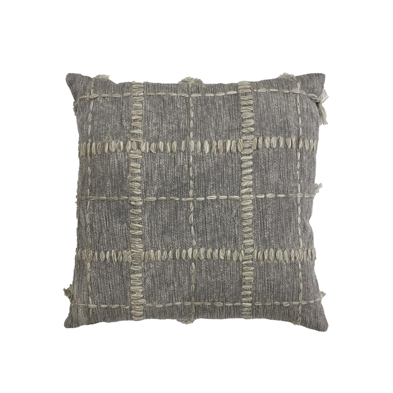 Khana Embroided Cushion - Grey 55cm x 55cm