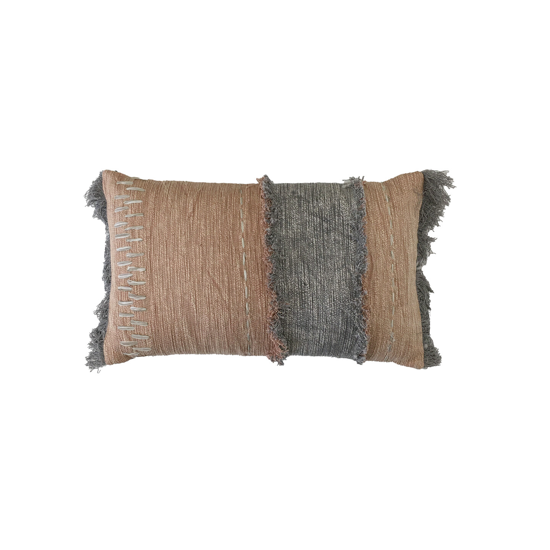 Khan Embroidered Cushion - Terracotta & Grey 30cm x 50cm