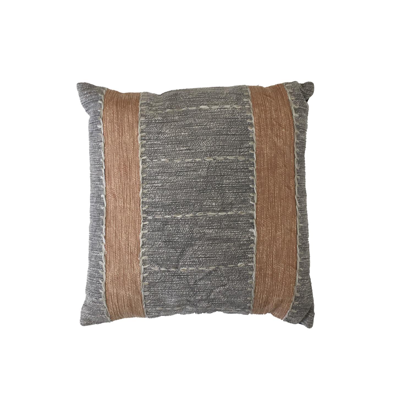 Khan Embroidered Cushion - Terracotta & Grey 50cm x 50cm