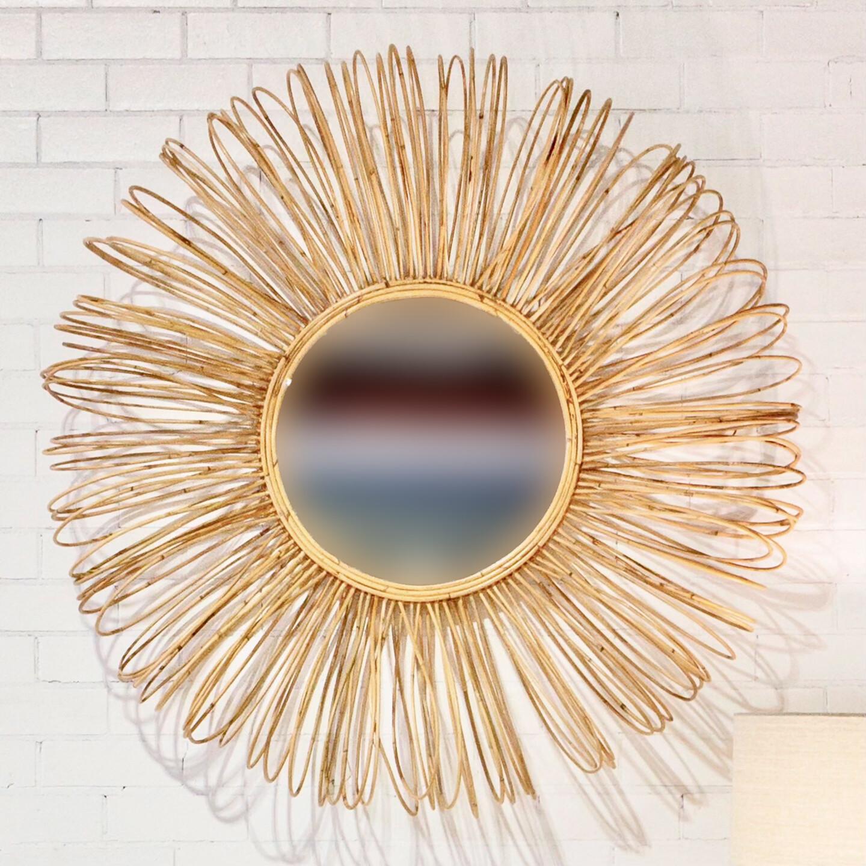 120cm Round Rattan Mirror