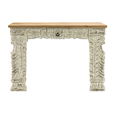 Carved White Washed Console