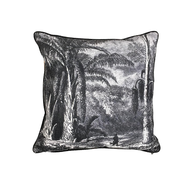 Lost World Cushion - B&W Linen 45cm x 45cm