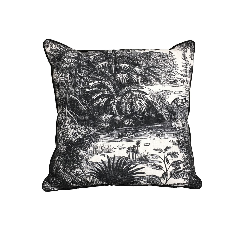 Nirvana Cushion - B&W Linen 45cm x 45cm