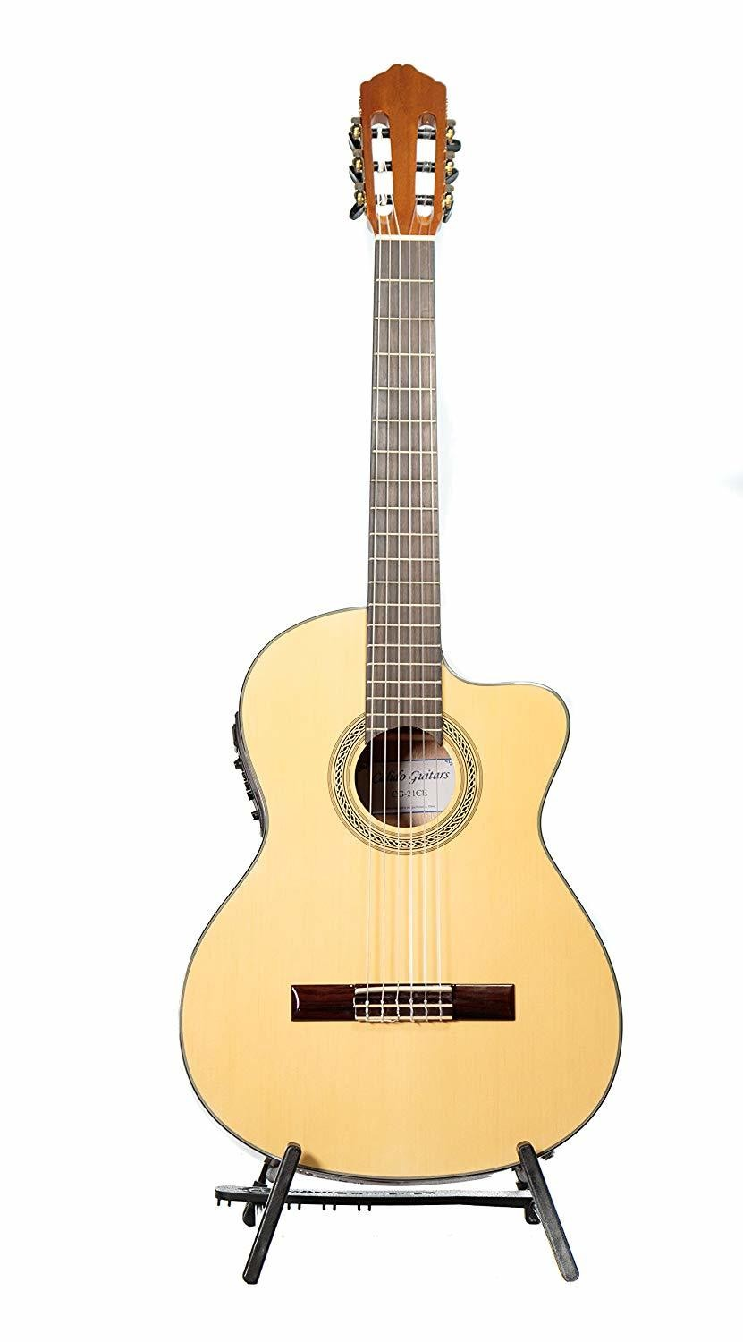 Calido CG 21CE - Acoustic Electric Cutaway - Nylon String Guitar with Crossrock Gig Bag