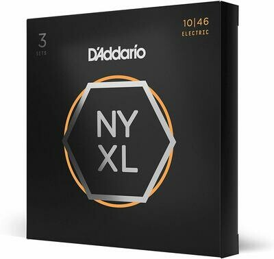 D'Addario NYXL1046-3P Nickel Plated Electric Guitar Strings, Regular Light,10-46 (3 Sets) – High Carbon Steel Alloy for Unprecedented Strength – Ideal Combination of Playability and Electric Tone