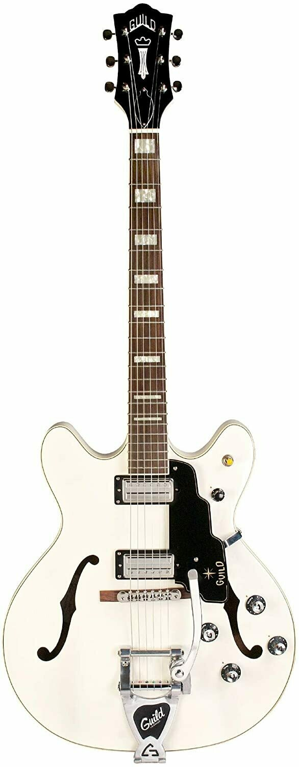 Guild Starfire V - Semi-Hollow Body Electric Guitar with Case (Snowcrest White)