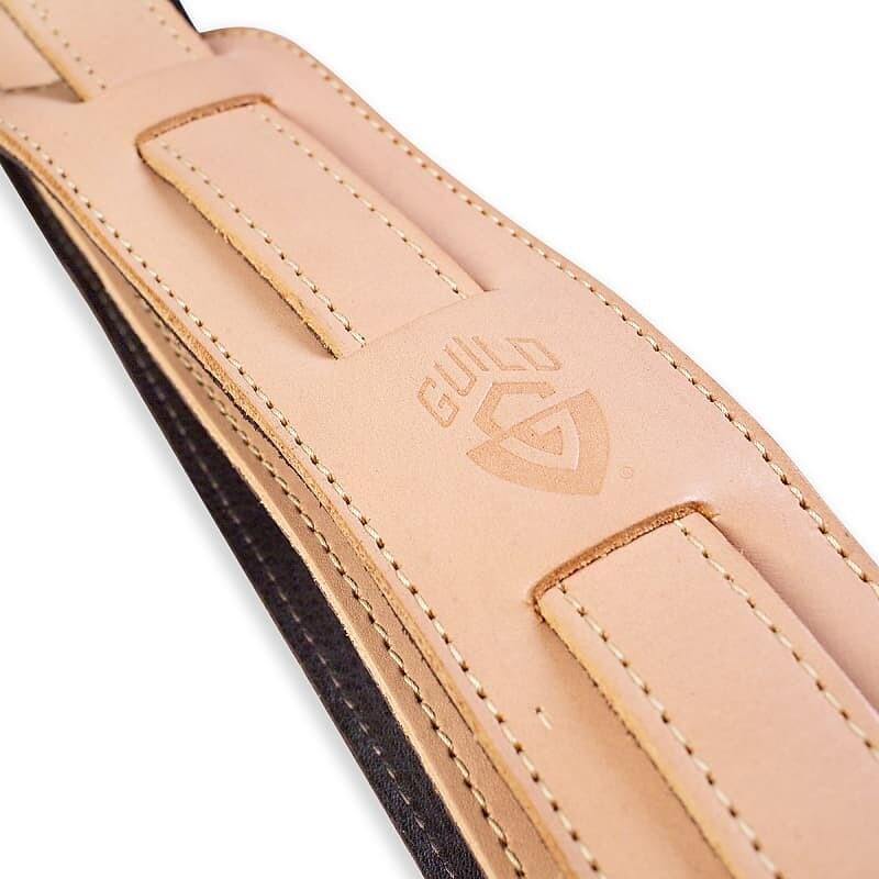 Guild Vintage Leather Shoulder Pad Guitar Strap - Tan – Made in USA