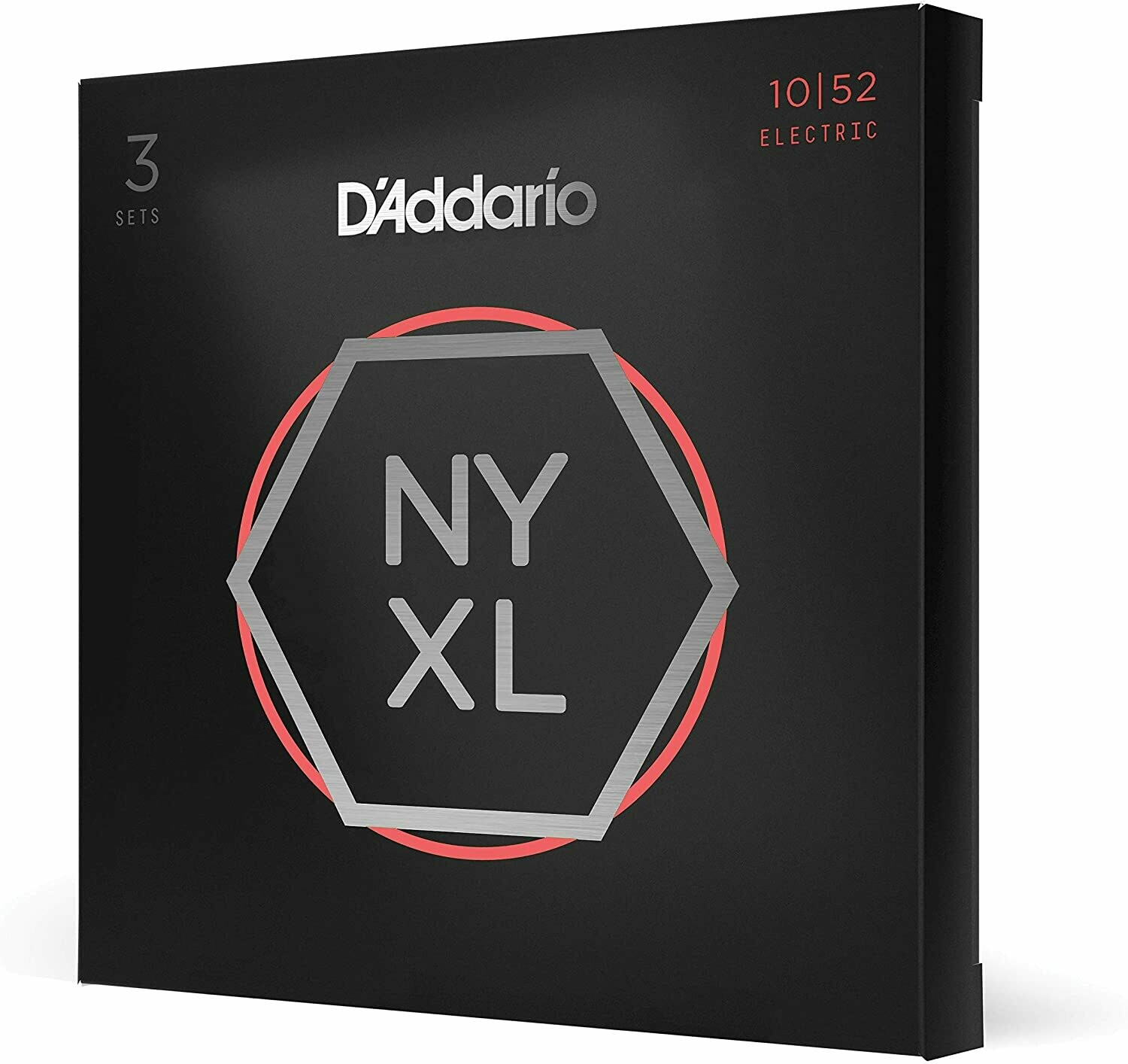 D'Addario Nyxl 1052 Nickel Wound Electric Guitar Strings, Light Top/ Heavy Bottom, 10-52, 3 Sets (NYXL1052-3P)