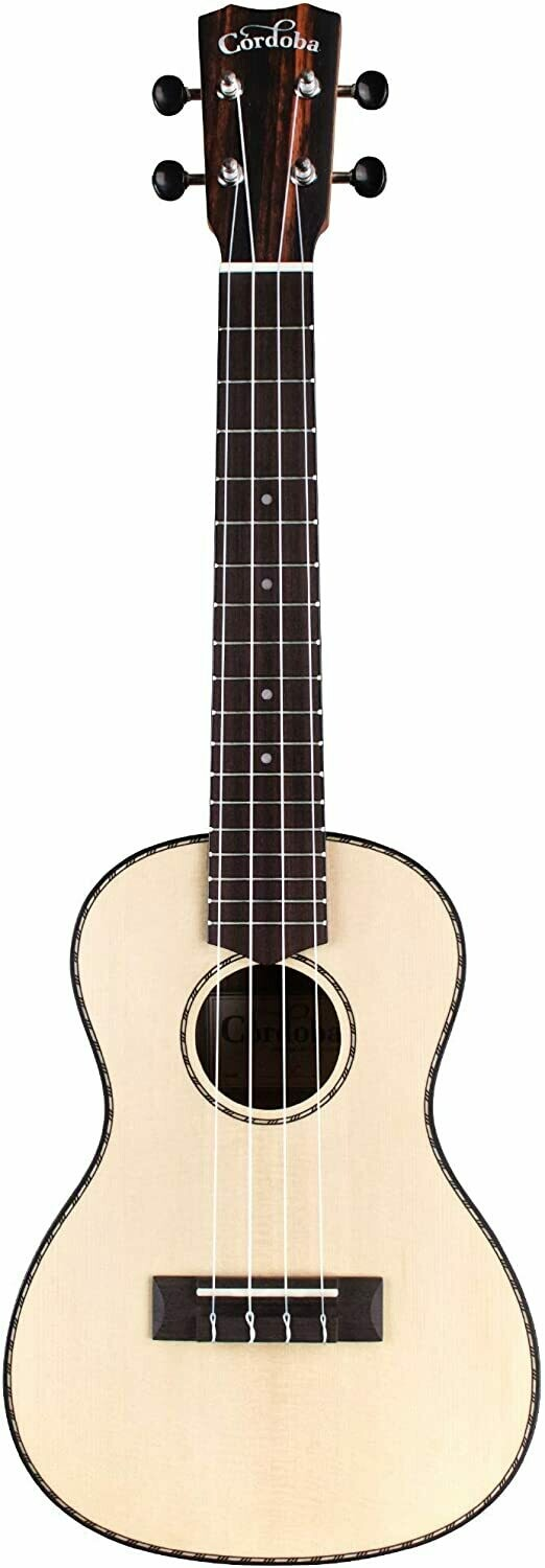 Cordoba 21C Solid Spruce Top, Striped Ebony Concert Ukulele