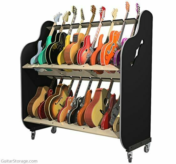 The Session-Pro™ Double-Stack Mobile Guitar & Case Racks