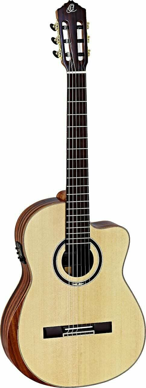 Ortega Striped Suite CE - Acoustic-electric Classical Guitar - Solid Alaskan Spruce top, AAA Striped Ebony back/sides, Armrest
