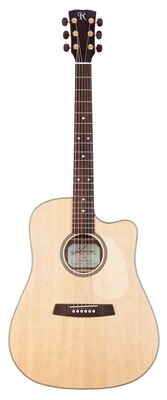 Kremona M20E Dreadnought Acoustic Electric Guitar, Solid Spruce top, Solid Mahogany back, LR Baggs EAS-VTC Element Electronics, Deluxe Hardshell Case Included