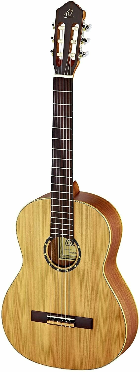 Ortega Full size Classical Guitar - Solid Cedar top, Mahogany back/side, Left Handed - Includes Deluxe Gig Bag