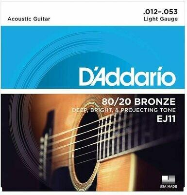 D'Addario EJ11 80/20 Bronze Acoustic Steel String Guitar Strings, Light, 12-53