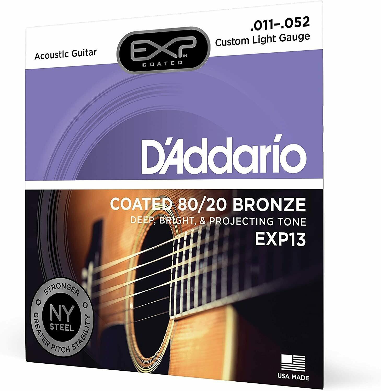D'Addario EXP13 - Bronze Acoustic Steel String Guitar Strings, Coated, Custom Light, 11-52, 80/20