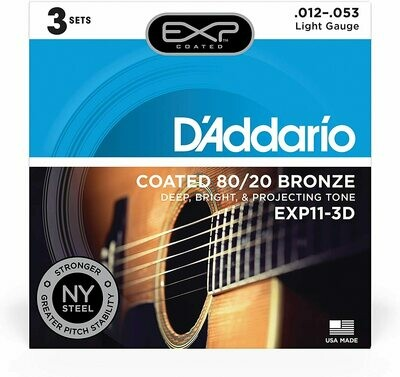 D'Addario EXP11-3D Coated Acoustic Steel String Guitar Strings, 80/20, Light, 12-53, 3 Sets