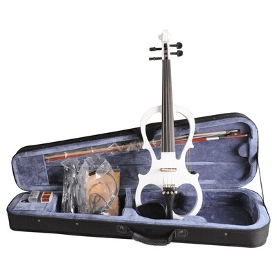 Aileen 4/4 White Electric Violin VE008B, Include FOAMED CASE + BOW + HEADPHONE + ROSIN