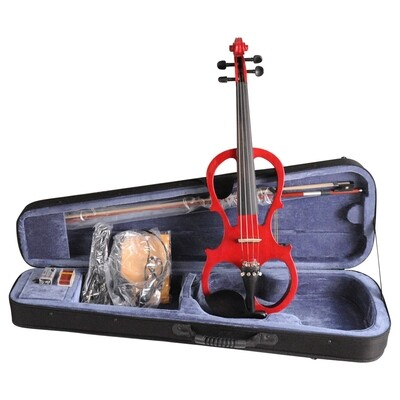 Aileen 4/4 RED Electric Violin VE008B, Include FOAMED CASE + BOW + HEADPHONE + ROSIN