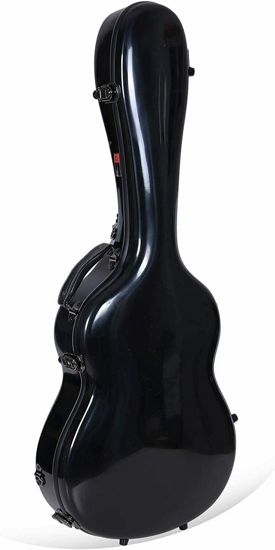Crossrock Deluxe Fiberglass Classical Guitar Case, 4/4 Full Size, Black (CRF2020CBK)