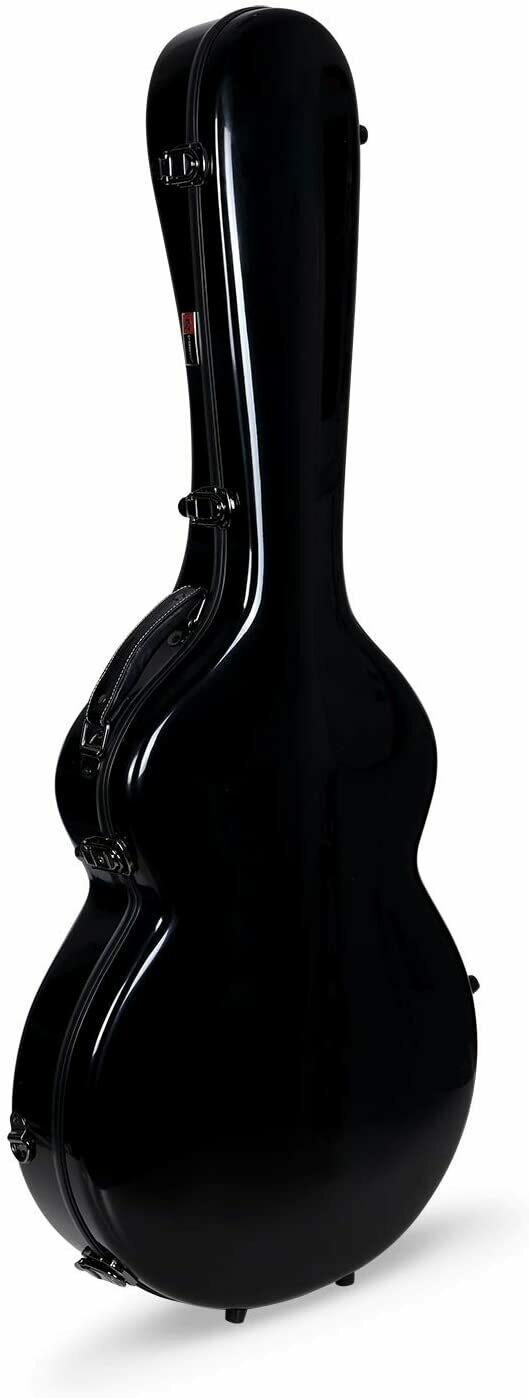 Crossrock 335 style guitar case, Fiberglass hard shell with Backpack Straps, Black (CRF1000SABK)