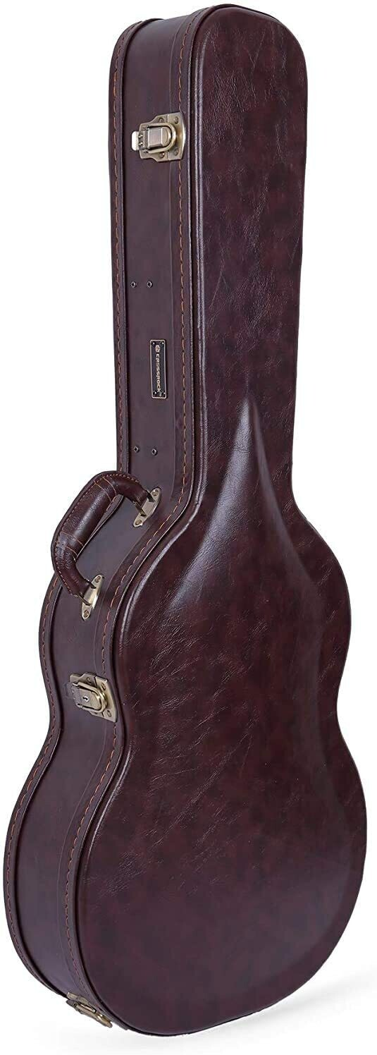 Crossrock CRW620CBR - Brown Vinyl Covered Wooden Arched top Hardshell Case for Full Size Classical Guitars
