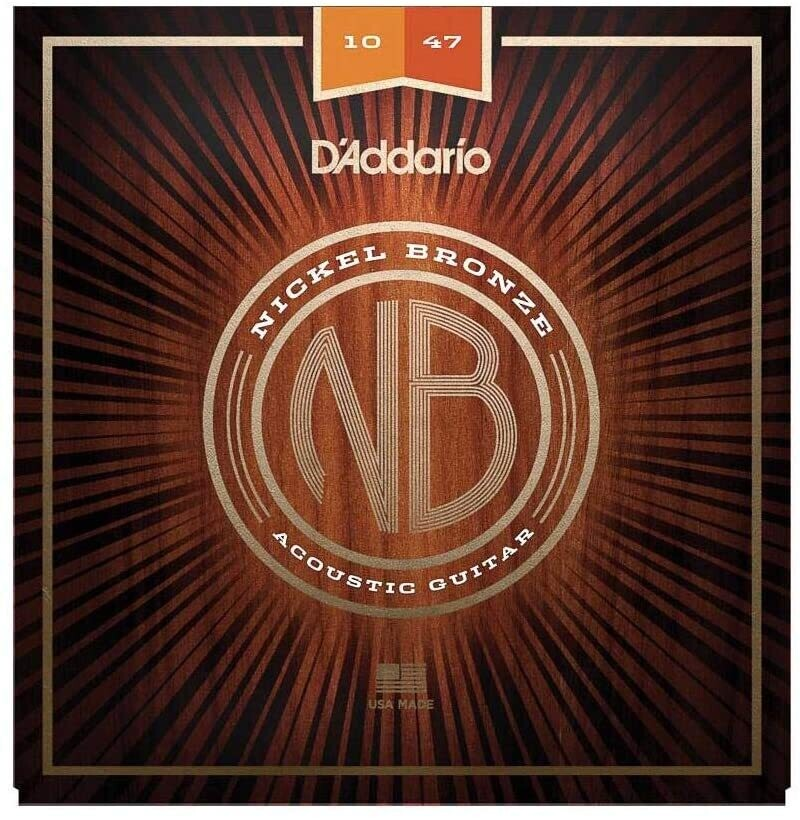 D'Addario NB1047, Nickel Bronze Acoustic Guitar Strings, Extra Light, 10-47