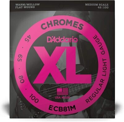D'Addario ECB81M Chromes Flatwound Bass Guitar Strings, Light, 45-100, Medium Scale