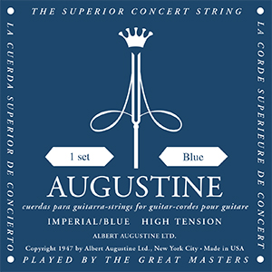 Augustine Imperial Blue Classical Guitar Strings - High Tension Bass, High Tension Trebles