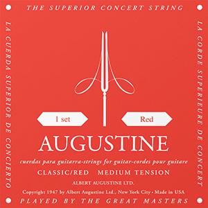 Augustine Classic Red Classical Guitar Strings - Medium Tension Bass, Regular  Tension Trebles