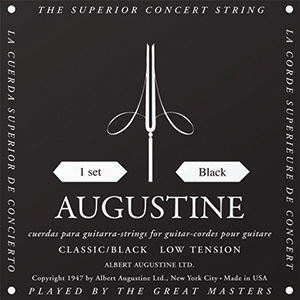 Augustine Classic Black Classical Guitar Strings - Low Tension Bass, Regular  Tension Trebles
