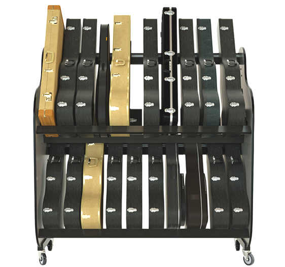Classroom Double Stack Guitar Rack with Wheels - Holds 20-22 Guitars in Cases - Model # BRDGC