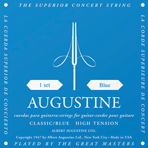 Augustine Classic Blue Classical Guitar Strings - High Tension Bass, Regular  Tension Trebles
